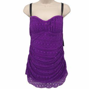 NWT Torrid Purple Lace Skirted Swimsuit O